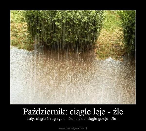 Październik: ciągle leje - źle – Luty: ciągle śnieg sypie - źle; Lipiec: ciągle grzeje - źle...