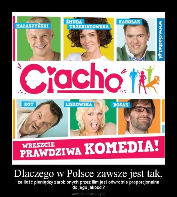 Dlaczego w Polsce zawsze jest tak, – że ilość pieniędzy zarobionych przez film jest odwrotnie proporcjonalnado jego jakości?