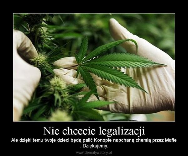 Nie chcecie legalizacji – Ale dzięki temu twoje dzieci będą palić Konopie napchaną chemią przez Mafie. Dziękujemy.