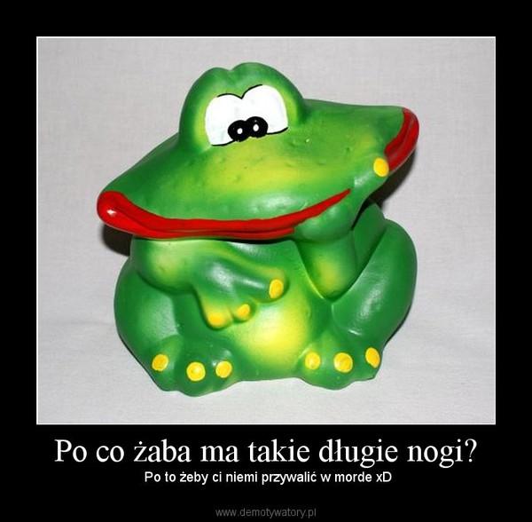 Po co żaba ma takie długie nogi? –  Po to żeby ci niemi przywalić w morde xD