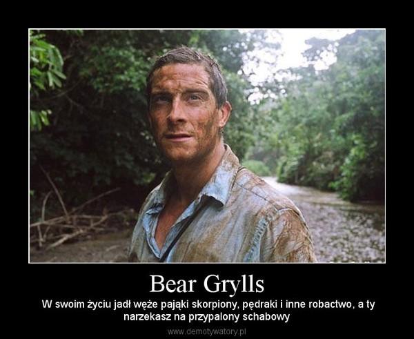 Bear Grylls –  W swoim życiu jadł węże pająki skorpiony, pędraki i inne robactwo, a tynarzekasz na przypalony schabowy