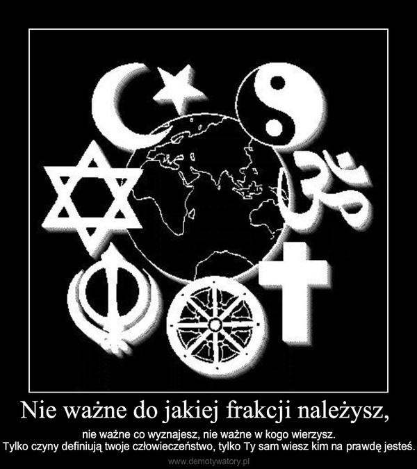 Nie ważne do jakiej frakcji należysz, – nie ważne co wyznajesz, nie ważne w kogo wierzysz.Tylko czyny definiują twoje człowieczeństwo, tylk