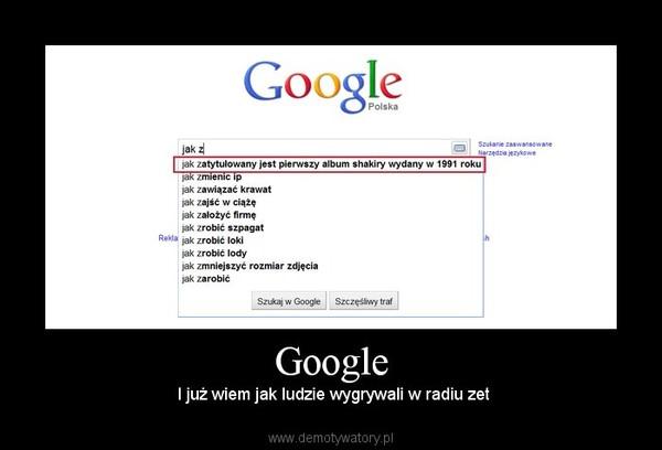 Google –  I już wiem jak ludzie wygrywali w radiu zet