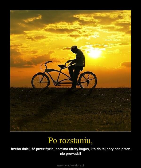 Po rozstaniu, – trzeba dalej iść przez życie, pomimo utraty kogoś, kto do tej pory nas przez nie prowadził