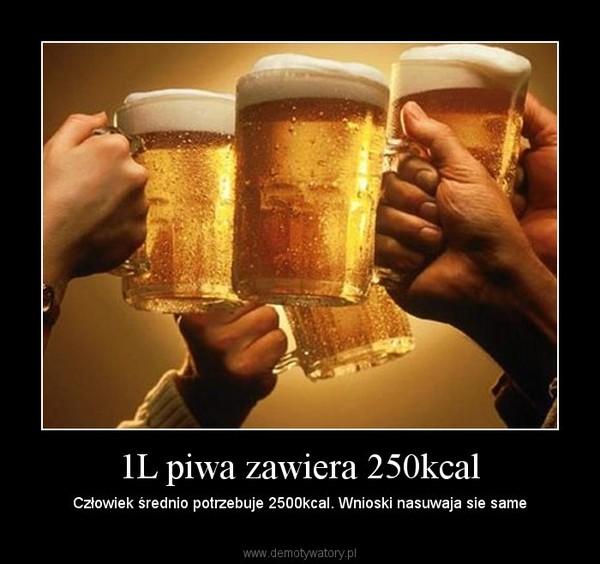 1L piwa zawiera 250kcal – Człowiek średnio potrzebuje 2500kcal. Wnioski nasuwaja sie same