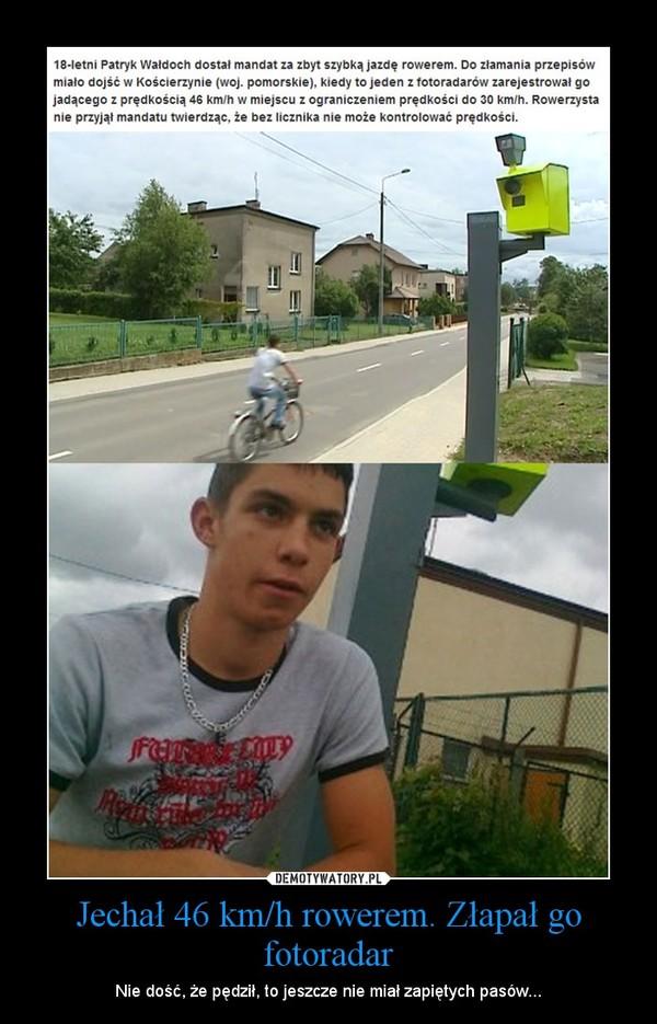 Jechał 46 km/h rowerem. Złapał go fotoradar – Nie dość, że pędził, to jeszcze nie miał zapiętych pasów...