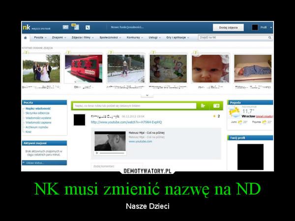 NK musi zmienić nazwę na ND – Nasze Dzieci