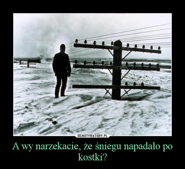 A wy narzekacie, że śniegu napadało po kostki? –