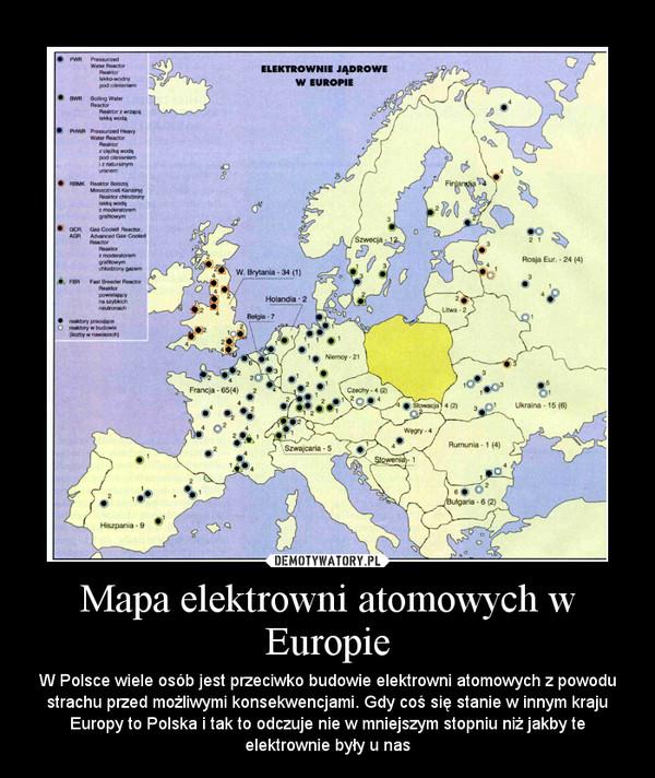 Mapa Elektrowni Atomowych W Europie Demotywatorypl