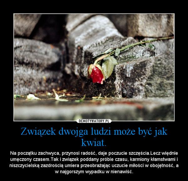 Związek dwojga ludzi może być jak kwiat. – Na początku zachwyca, przynosi radość, daje poczucie szczęścia.Lecz więdnie umęczony czasem.Tak i związek poddany próbie czasu, karmiony kłamstwami i niszczycielską zazdrością umiera przeobrażając uczucie miłości w obojętność, a w najgorszym wypadku w nienawiść.
