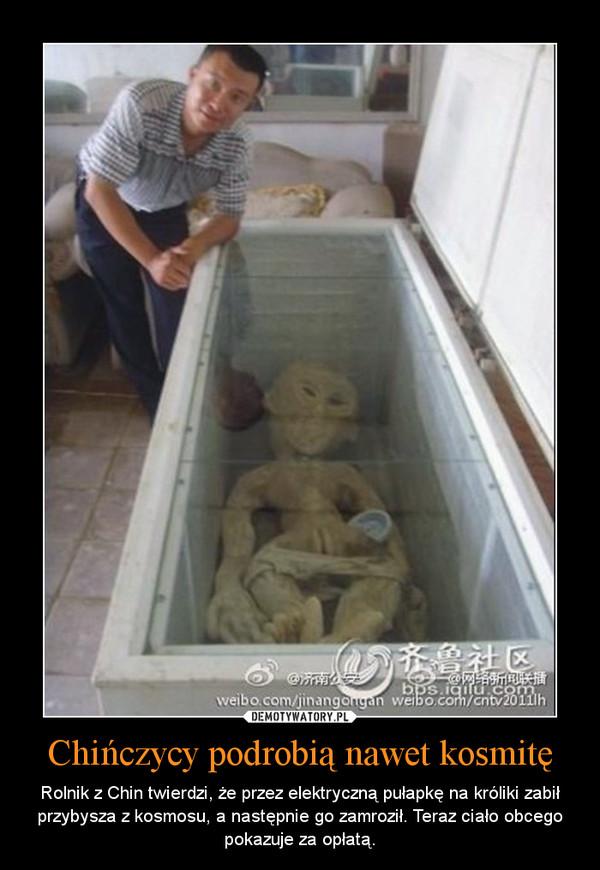 Chińczycy podrobią nawet kosmitę – Rolnik z Chin twierdzi, że przez elektryczną pułapkę na króliki zabił przybysza z kosmosu, a następnie go zamroził. Teraz ciało obcego pokazuje za opłatą.