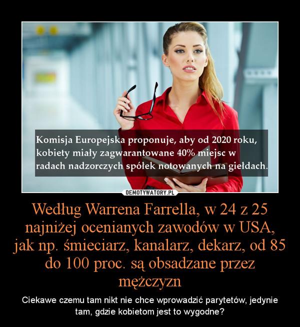 Według Warrena Farrella, w 24 z 25 najniżej ocenianych zawodów w USA, jak np. śmieciarz, kanalarz, dekarz, od 85 do 100 proc. są obsadzane przez mężczyzn – Ciekawe czemu tam nikt nie chce wprowadzić parytetów, jedynie tam, gdzie kobietom jest to wygodne?
