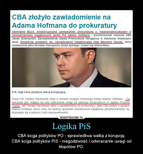 Logika PiS – CBA ściga polityków PO - sprawiedliwa walka z korupcją.CBA ściga polityków PiS - niegodziwość i odwracanie uwagi od kłopotów PO.