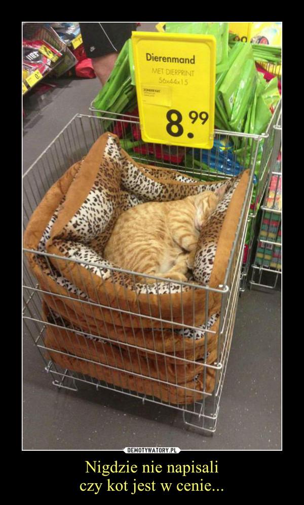 Nigdzie nie napisaliczy kot jest w cenie... –