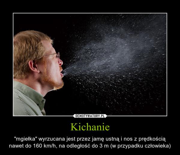 """Kichanie – """"mgiełka"""" wyrzucana jest przez jamę ustną i nos z prędkością nawet do 160 km/h, na odległość do 3 m (w przypadku człowieka)"""