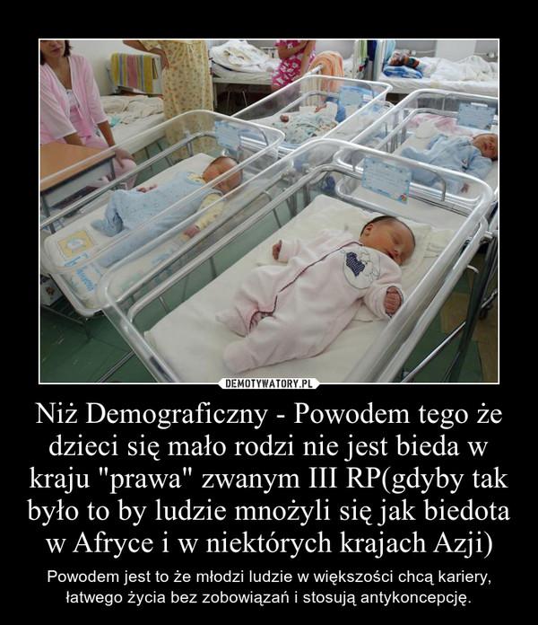 """Niż Demograficzny - Powodem tego że dzieci się mało rodzi nie jest bieda w kraju """"prawa"""" zwanym III RP(gdyby tak było to by ludzie mnożyli się jak biedota w Afryce i w niektórych krajach Azji) – Powodem jest to że młodzi ludzie w większości chcą kariery, łatwego życia bez zobowiązań i stosują antykoncepcję."""