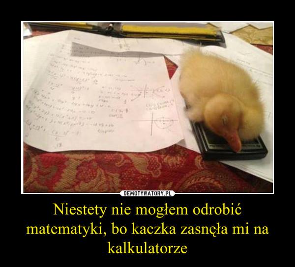 Niestety nie mogłem odrobić matematyki, bo kaczka zasnęła mi na kalkulatorze –