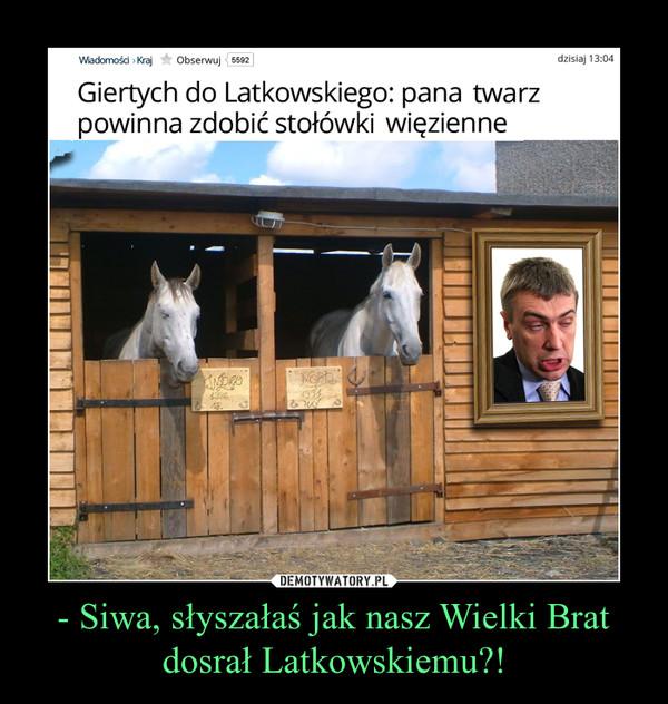 - Siwa, słyszałaś jak nasz Wielki Bratdosrał Latkowskiemu?! –