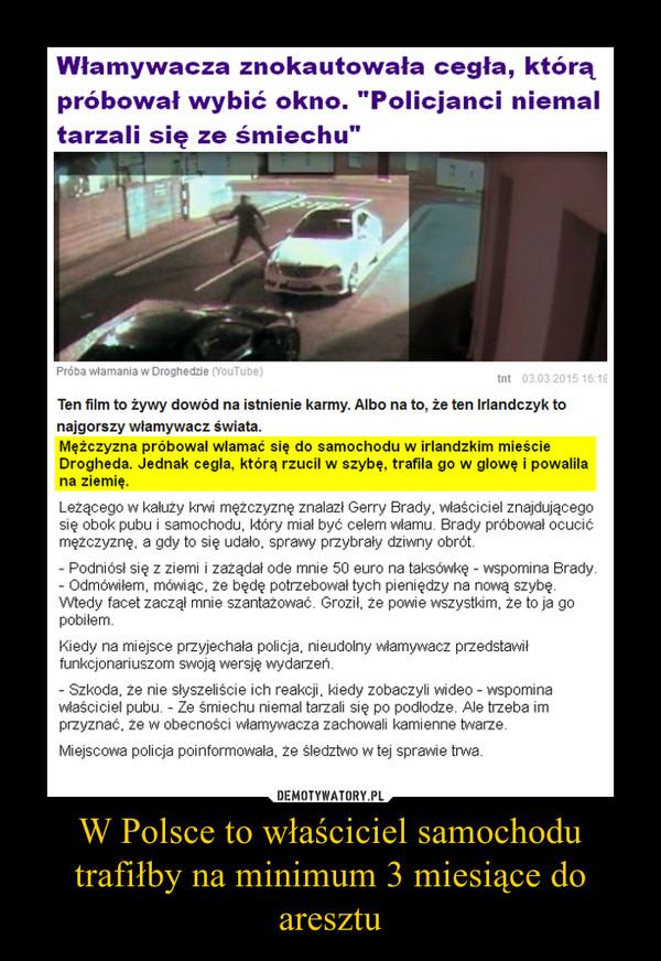 W Polsce to właściciel samochodu trafiłby na minimum 3 miesiące do aresztu –