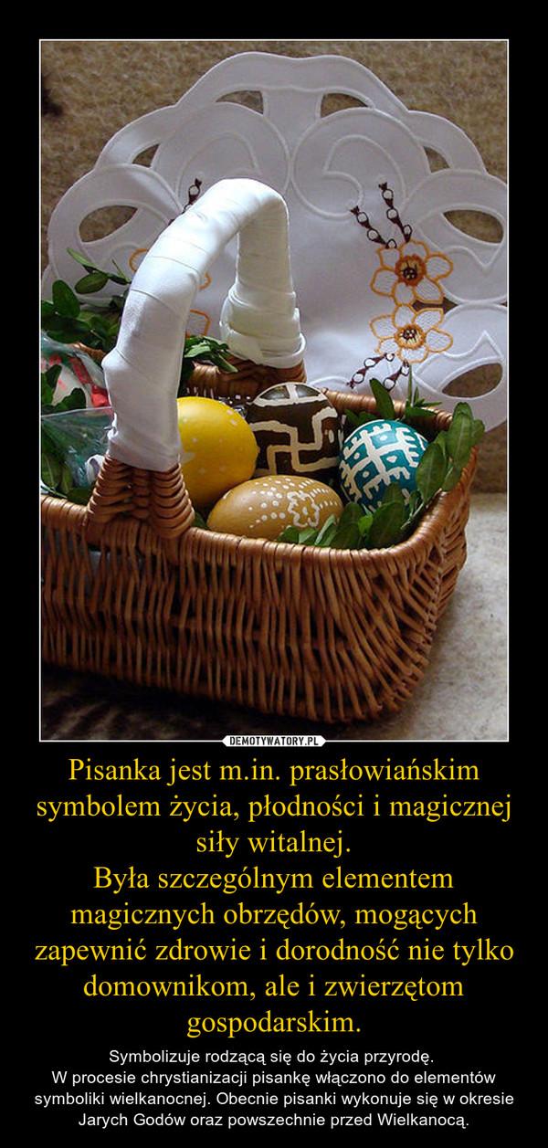 Pisanka jest m.in. prasłowiańskim symbolem życia, płodności i magicznej siły witalnej.Była szczególnym elementem magicznych obrzędów, mogących zapewnić zdrowie i dorodność nie tylko domownikom, ale i zwierzętom gospodarskim. – Symbolizuje rodzącą się do życia przyrodę. W procesie chrystianizacji pisankę włączono do elementów symboliki wielkanocnej. Obecnie pisanki wykonuje się w okresie Jarych Godów oraz powszechnie przed Wielkanocą.