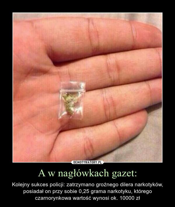 A w nagłówkach gazet: – Kolejny sukces policji: zatrzymano groźnego dilera narkotyków, posiadał on przy sobie 0,25 grama narkotyku, którego czarnorynkowa wartość wynosi ok. 10000 zł