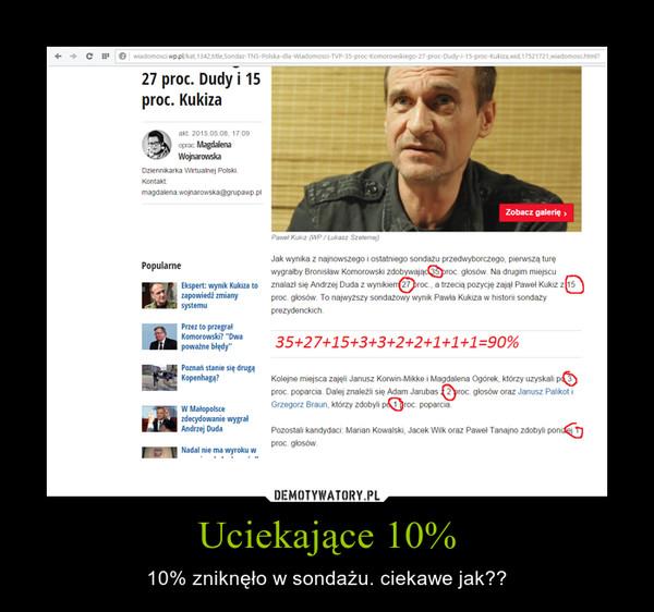 Uciekające 10% – 10% zniknęło w sondażu. ciekawe jak??