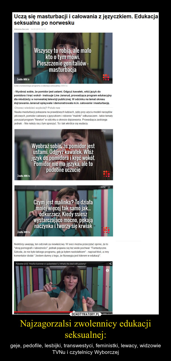 Najzagorzalsi zwolennicy edukacji seksualnej: – geje, pedofile, lesbijki, transwestyci, feministki, lewacy, widzowie TVNu i czytelnicy Wyborczej