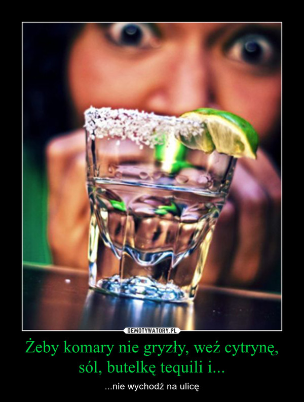 Żeby komary nie gryzły, weź cytrynę, sól, butelkę tequili i... – ...nie wychodź na ulicę