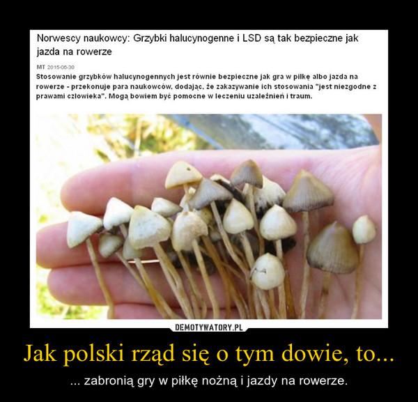 Jak polski rząd się o tym dowie, to... – ... zabronią gry w piłkę nożną i jazdy na rowerze.