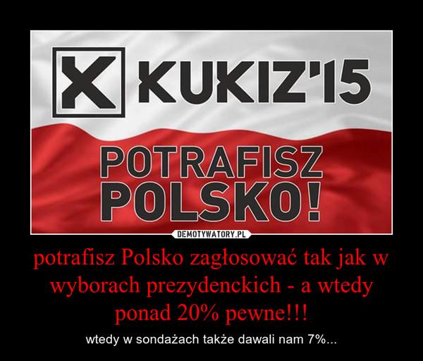 potrafisz Polsko zagłosować tak jak w wyborach prezydenckich - a wtedy ponad 20% pewne!!! – wtedy w sondażach także dawali nam 7%...