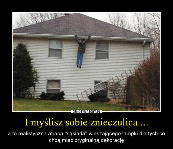 I myślisz sobie znieczulica.... – a to realistyczna atrapa ''sąsiada'' wieszającego lampki dla tych co chcą mieć oryginalną dekorację