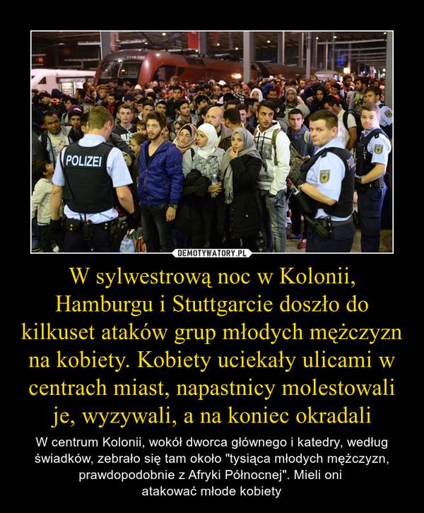"""W sylwestrową noc w Kolonii, Hamburgu i Stuttgarcie doszło do kilkuset ataków grup młodych mężczyzn na kobiety. Kobiety uciekały ulicami w centrach miast, napastnicy molestowali je, wyzywali, a na koniec okradali – W centrum Kolonii, wokół dworca głównego i katedry, według świadków, zebrało się tam około """"tysiąca młodych mężczyzn, prawdopodobnie z Afryki Północnej"""". Mieli oni atakować młode kobiety"""