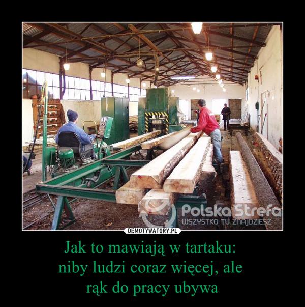 Jak to mawiają w tartaku: niby ludzi coraz więcej, ale rąk do pracy ubywa –