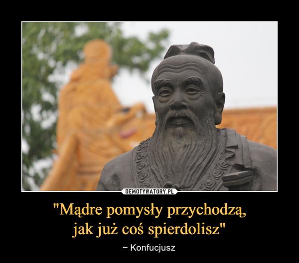 """""""Mądre pomysły przychodzą,jak już coś spierdolisz"""" – ~ Konfucjusz"""
