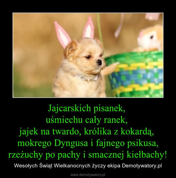 Jajcarskich pisanek, uśmiechu cały ranek, jajek na twardo, królika z kokardą, mokrego Dyngusa i fajnego psikusa,rzeżuchy po pachy i smacznej kiełbachy! – Wesołych Świąt Wielkanocnych życzy ekipa Demotywatory.pl