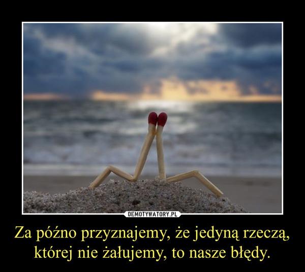 Za późno przyznajemy, że jedyną rzeczą,której nie żałujemy, to nasze błędy. –