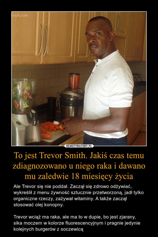 To jest Trevor Smith. Jakiś czas temu zdiagnozowano u niego raka i dawano mu zaledwie 18 miesięcy życia – Ale Trevor się nie poddał. Zaczął się zdrowo odżywiać, wykreślił z menu żywność sztucznie przetworzoną, jadł tylko organiczne rzeczy, zażywał witaminy. A także zaczął stosować olej konopny. Trevor wciąż ma raka, ale ma to w dupie, bo jest zjarany, sika moczem w kolorze fluorescencyjnym i pragnie jedynie kolejnych burgerów z soczewicą