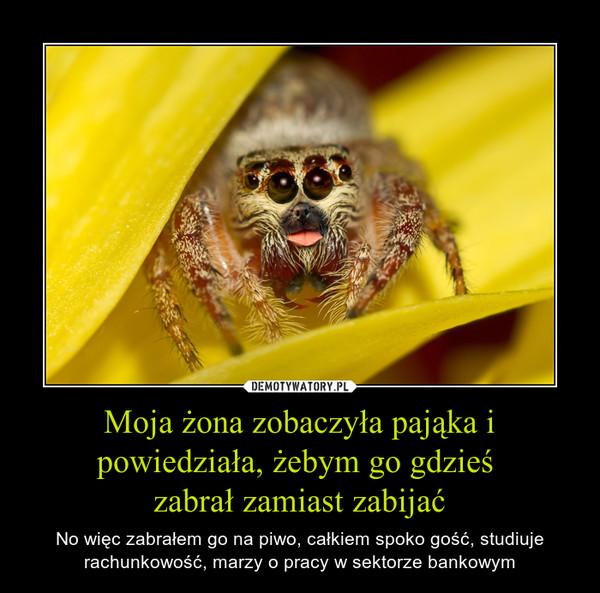 Moja żona zobaczyła pająka i powiedziała, żebym go gdzieś zabrał zamiast zabijać – No więc zabrałem go na piwo, całkiem spoko gość, studiuje rachunkowość, marzy o pracy w sektorze bankowym