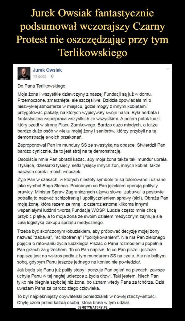 Jurek Owsiak Fantastycznie Podsumował Wczorajszy Czarny