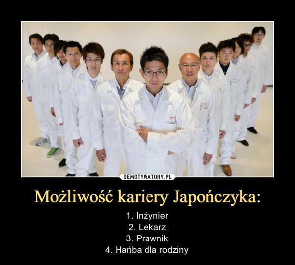 Możliwość kariery Japończyka: – 1. Inżynier2. Lekarz3. Prawnik4. Hańba dla rodziny