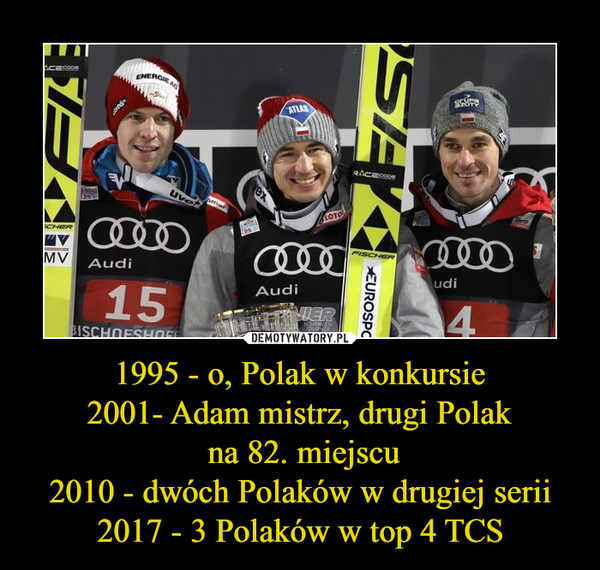 1995 - o, Polak w konkursie2001- Adam mistrz, drugi Polak na 82. miejscu2010 - dwóch Polaków w drugiej serii2017 - 3 Polaków w top 4 TCS –