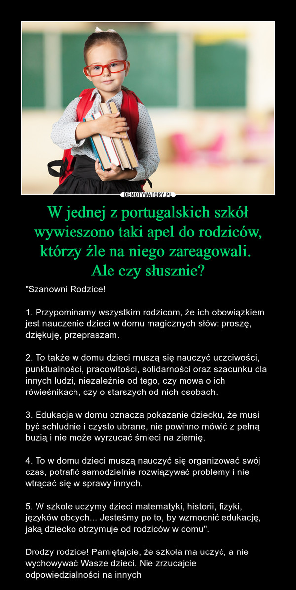 d0a3c497c5 W jednej z portugalskich szkół wywieszono taki apel do rodziców ...