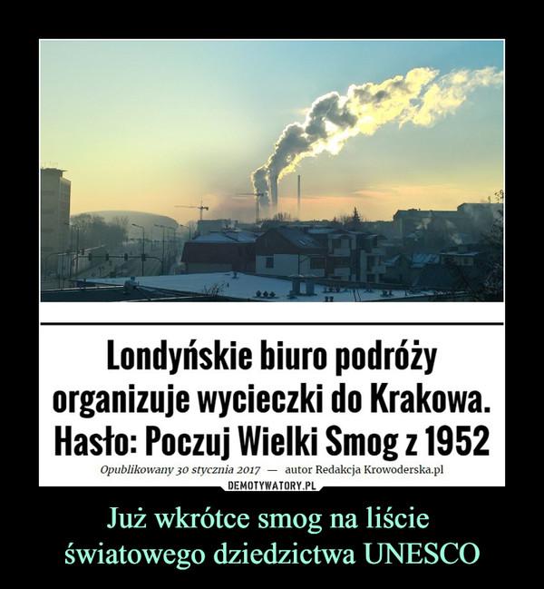 Już wkrótce smog na liście światowego dziedzictwa UNESCO –