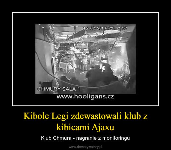 Kibole Legi zdewastowali klub z kibicami Ajaxu – Klub Chmura - nagranie z monitoringu