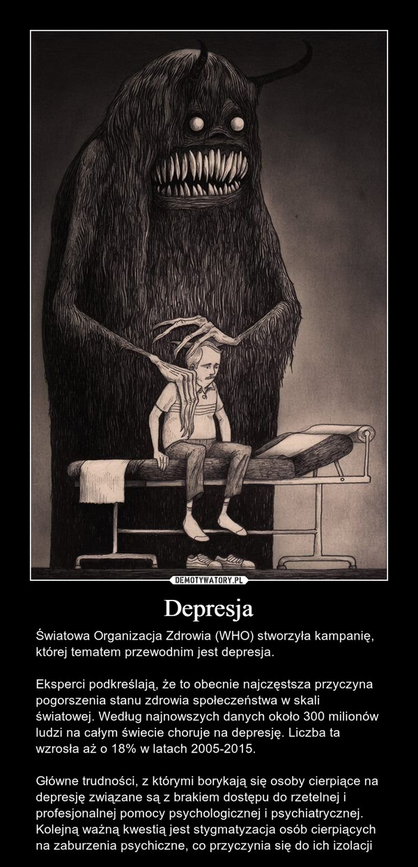 Depresja – Światowa Organizacja Zdrowia (WHO) stworzyła kampanię, której tematem przewodnim jest depresja. Eksperci podkreślają, że to obecnie najczęstsza przyczyna pogorszenia stanu zdrowia społeczeństwa w skali światowej. Według najnowszych danych około 300 milionów ludzi na całym świecie choruje na depresję. Liczba ta wzrosła aż o 18% w latach 2005-2015. Główne trudności, z którymi borykają się osoby cierpiące na depresję związane są z brakiem dostępu do rzetelnej i profesjonalnej pomocy psychologicznej i psychiatrycznej. Kolejną ważną kwestią jest stygmatyzacja osób cierpiących na zaburzenia psychiczne, co przyczynia się do ich izolacji
