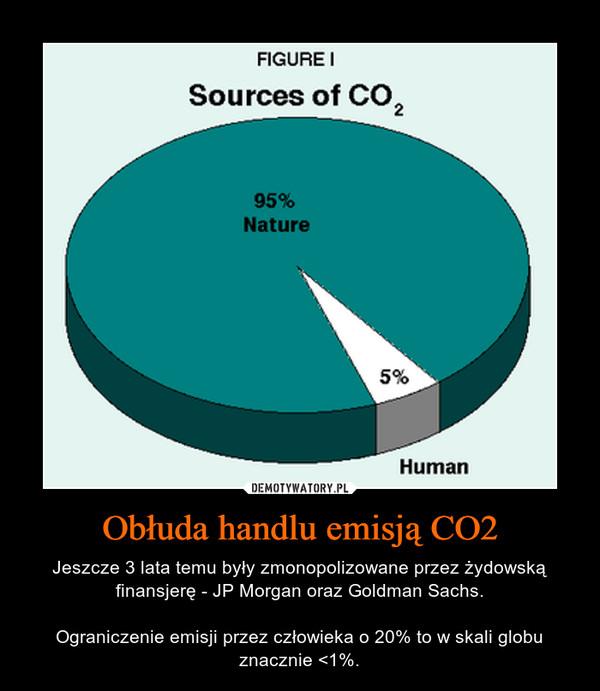 Obłuda handlu emisją CO2 – Jeszcze 3 lata temu były zmonopolizowane przez żydowską finansjerę - JP Morgan oraz Goldman Sachs.Ograniczenie emisji przez człowieka o 20% to w skali globu znacznie <1%.