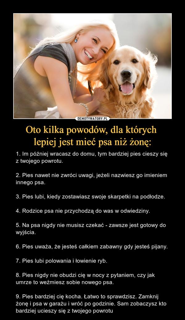 Oto kilka powodów, dla których lepiej jest mieć psa niż żonę: –  Demotywatory.pl