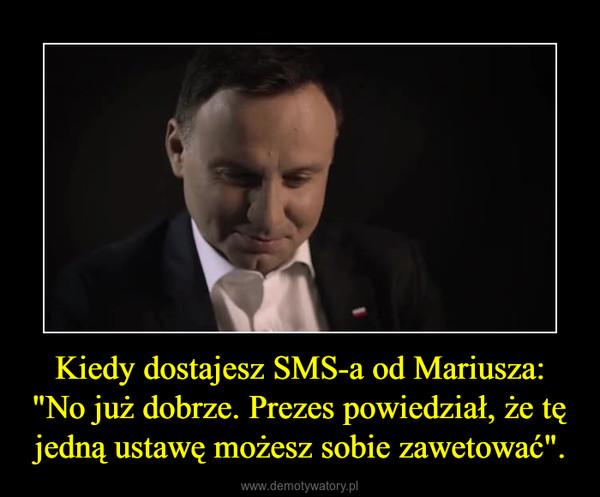 """Kiedy dostajesz SMS-a od Mariusza: """"No już dobrze. Prezes powiedział, że tę jedną ustawę możesz sobie zawetować"""". –"""