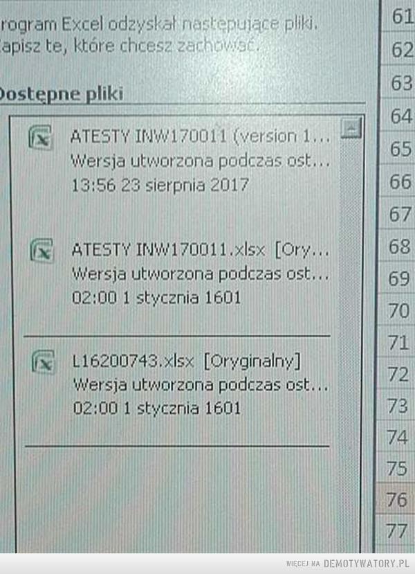 Okazuje się, że w Excelu pracowano już w 1601r... –