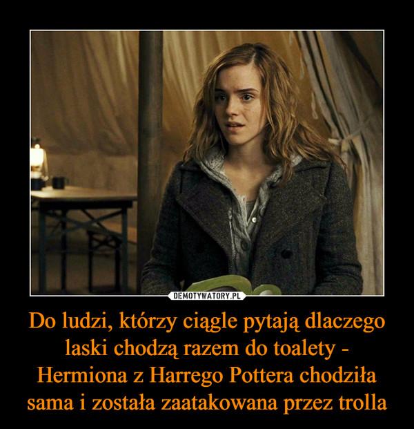Do ludzi, którzy ciągle pytają dlaczego laski chodzą razem do toalety - Hermiona z Harrego Pottera chodziła sama i została zaatakowana przez trolla –